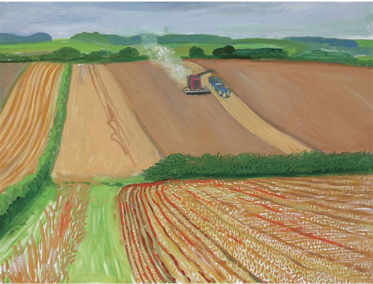 David Hockney | 2006. | Harvesting near the Road to THwing August 06 | oil on canvas | 36 1/8 x 48 in. (91.7 x 121.9 cm.)