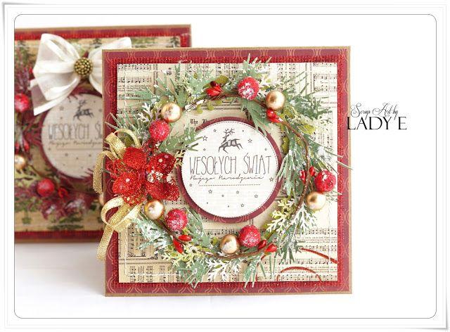 card christmas wreath berries berry vintage shabby chic Scrap Art by Lady E: Christamas Wreaths / Wianki Świąrteczne