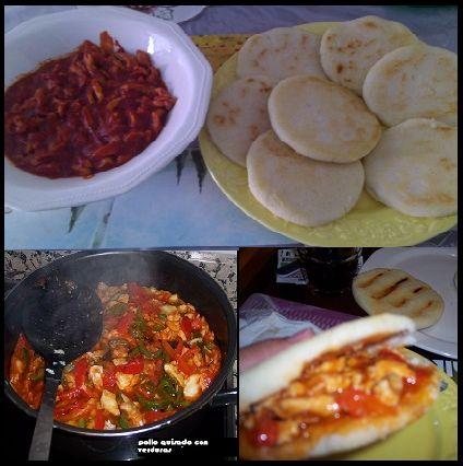 Esta receta de pollo mechado en salsa con verduras es un pollo en salsa con pimientos de verduras.