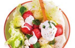 Salada de Melancia e Meloa com Feta