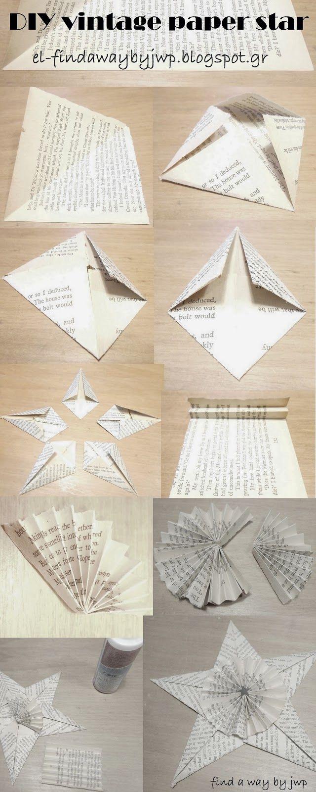 find a way by jwp: DIY vintage Christmas paper star ornament [φτιάχνω μόνος μου χάρτινα χριστουγεννιάτικα αστέρια ]