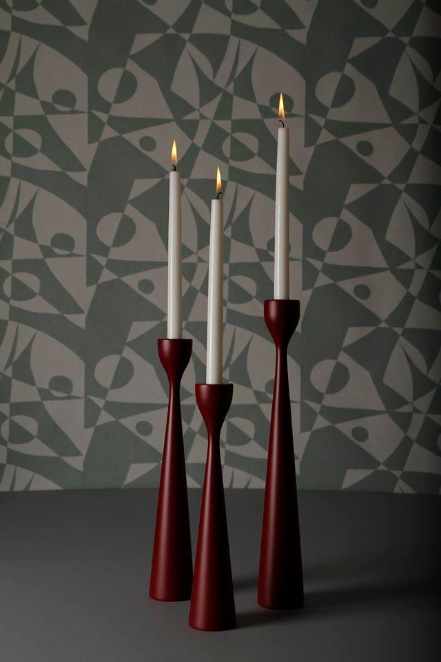 FREEMOVER Textiles Eco-Cotton Vintage Green Pattern Regatta™ and Dark Red no 4 - Rolf™ Candlesticks - Celebrating 10. Design: Maria Lovisa Dahlberg. freemover.se - FSC certified beechwood - eco color cote