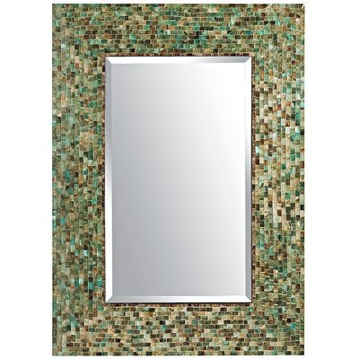 This could open up the upstairs bathroom, since we can't put in a window: Ocean Mosaic Mirror