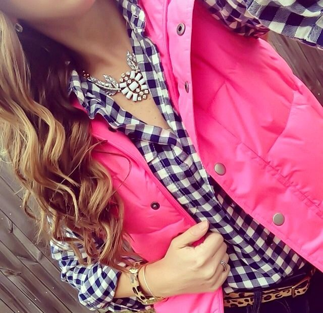 Gingham and Pink -- keep it feminine. pair it with Shorts for summer.