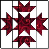 """~ Crown and Star….<3 the simplicity of 2 colours (FG & HST's)…. might have to use this for a filler block in a current project!  CRAP…just noticed it is for a 16"""" block and I need 12! Cushion top to use my HST's then!"""