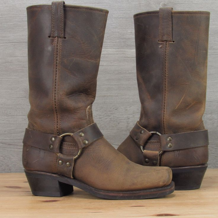 FRYE $298 12R Distressed Brown Leather Harness Boots Size Women's 7.5