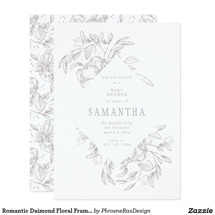 Romantic Diamond Floral Frame Invitation
