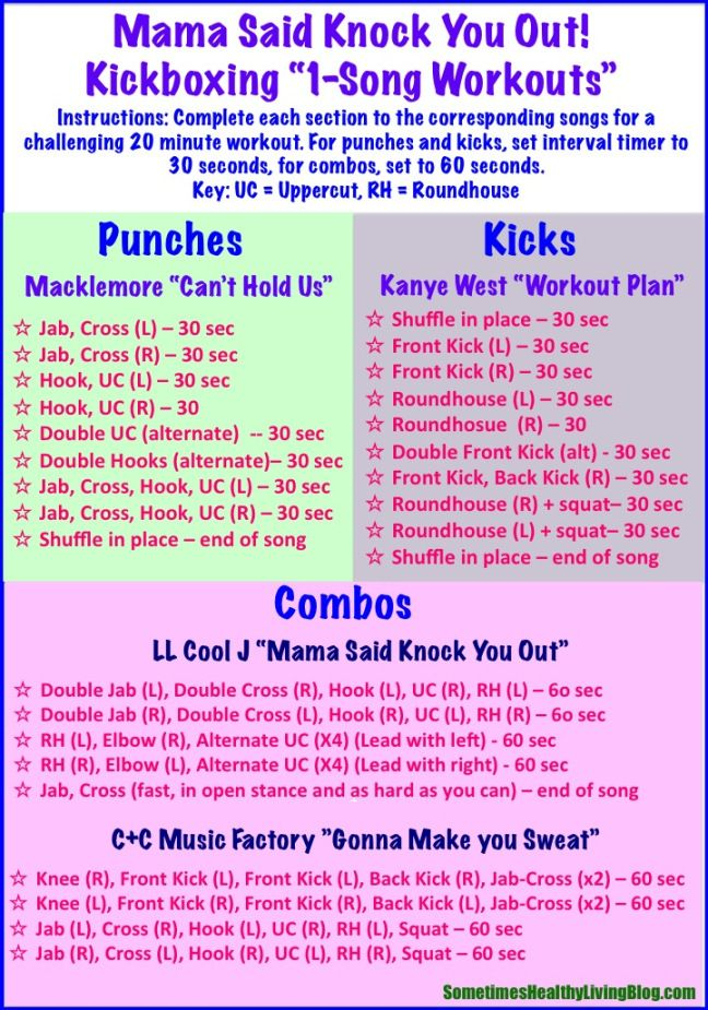 1 Song Kickboxing Workouts: 20 minutes of cardio blasting kickboxing