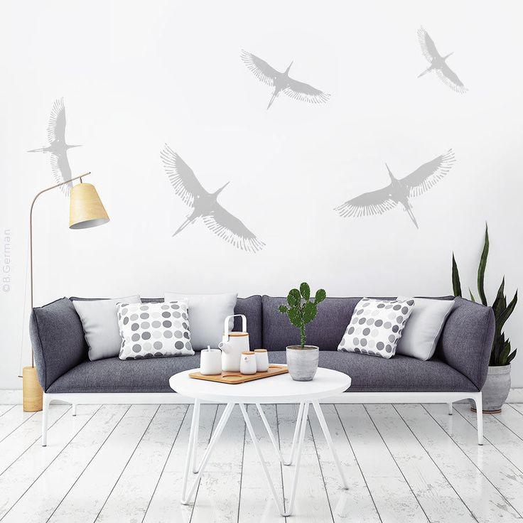 Details Zu Moderne Wandtattoo Set 5x Storch Vögel Wand Sticker Wandaufkleber W801b