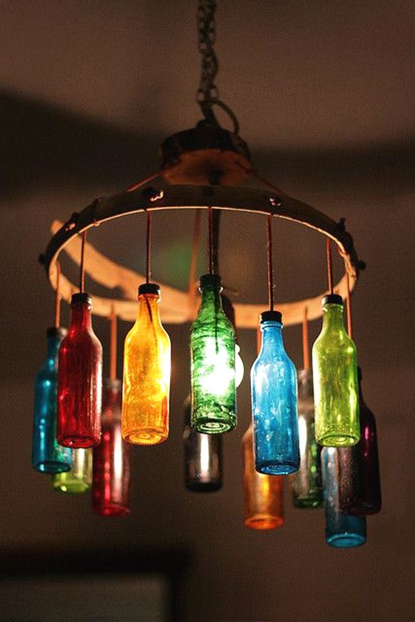 29 Creative Diy Hanging Lamp Ideas You Might Build For Your Apartment Colorful Wine Bottle Light Fixture Bottle Chandelier Lighted Wine Bottles Bottle Lights