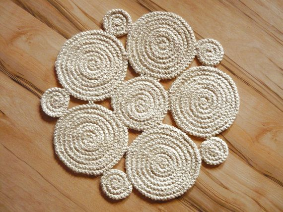 Crochet natural jute rug. Off White  Braided rug by GreatHome