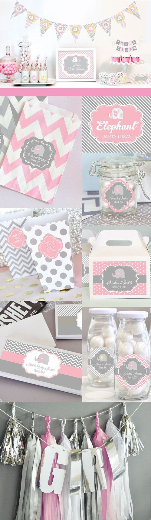 Pink Elephant Baby Shower Decorations, Ideas, Favors, Banner, Cupcakes, Cake topper & Supplies KIT by ModParty