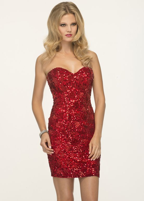 Red sequin cocktail dress