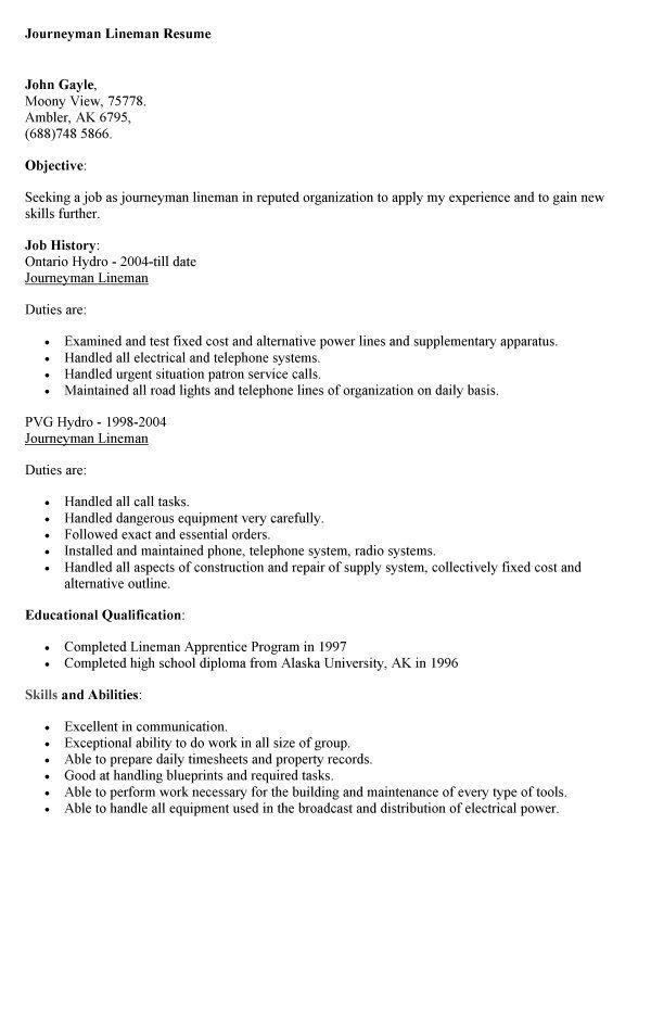 Journeyman Resume Sample - http://resumesdesign.com/journeyman-resume-sample/
