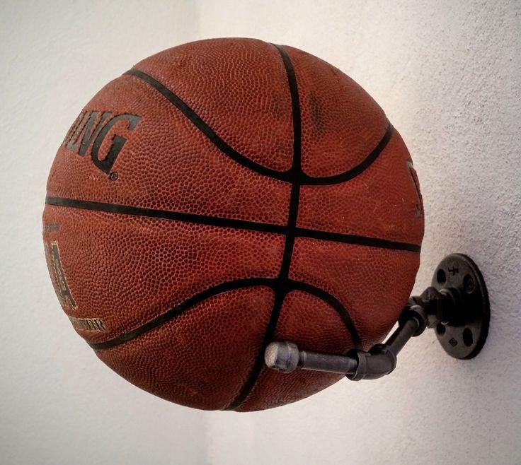 Basketball holder, Football Holder, Memorabilia Display, Sports Memorabilia, Industrial Decor, Ball Holder by LocustAndPlum on Etsy https://www.etsy.com/listing/271514932/basketball-holder-football-holder