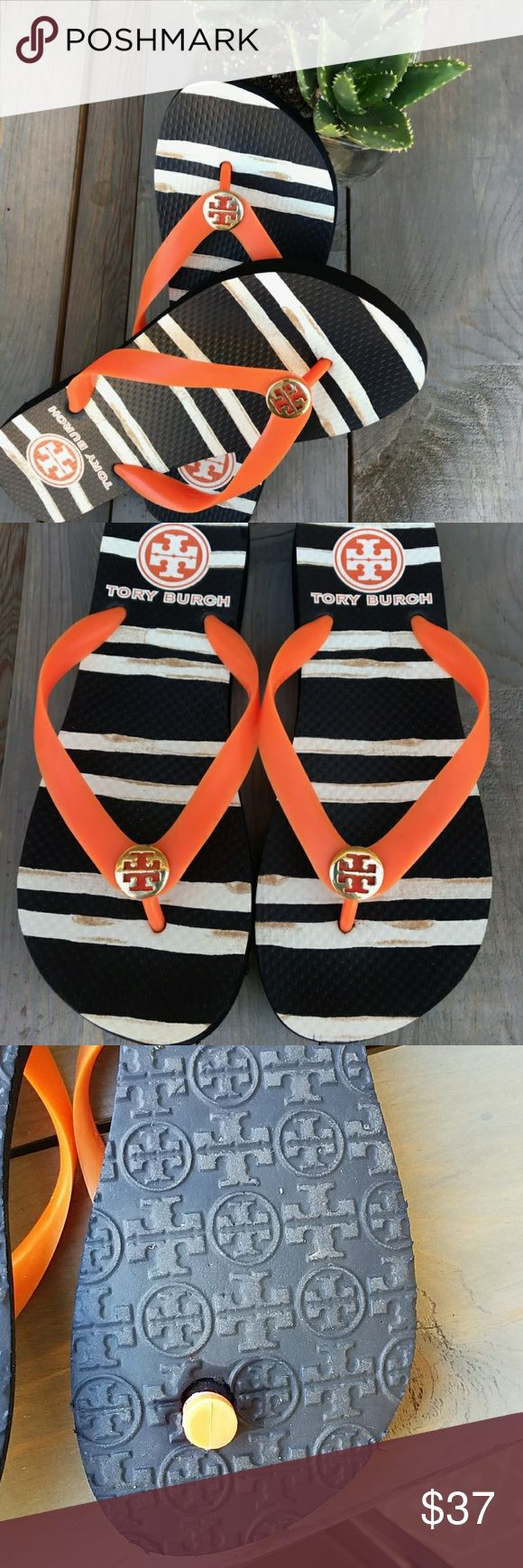 🌺 Tory Burch orange flip flops Super cute lightly worn. Tory Burch Shoes Sandals