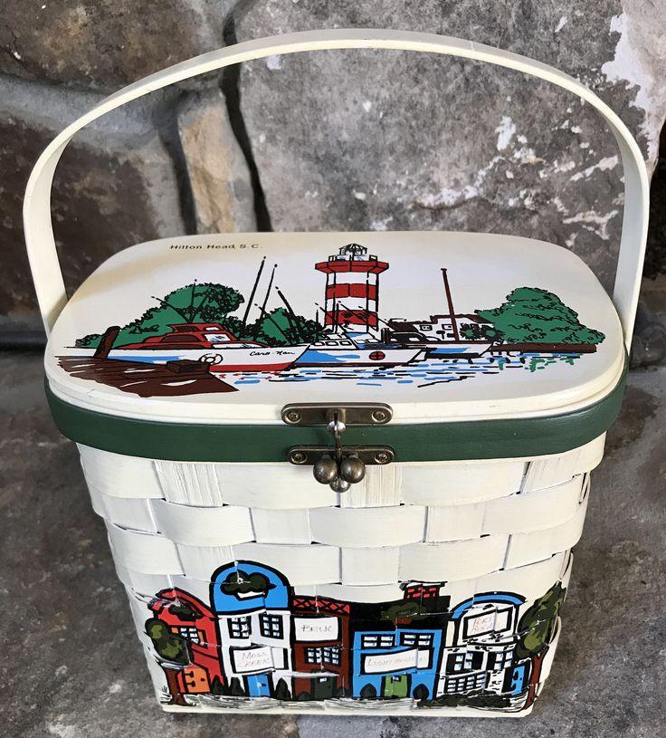 Vintage Caro-Nan Handbag Hilton Head Island RARE 1970's Boutique Tall Wooden Basket Excellent Condition by HiltonHeadThriftShop on Etsy