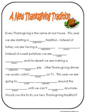 Kids Thanksgiving Mad Libs