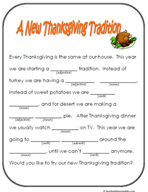 Kids Thanksgiving Mad Libs