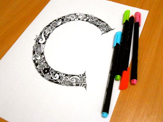 Letter C Decoration Coloring page Adult coloring by GardenDoodles