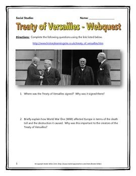 world war one wwi treaty of versailles webquest with key student the o 39 jays and teaching. Black Bedroom Furniture Sets. Home Design Ideas