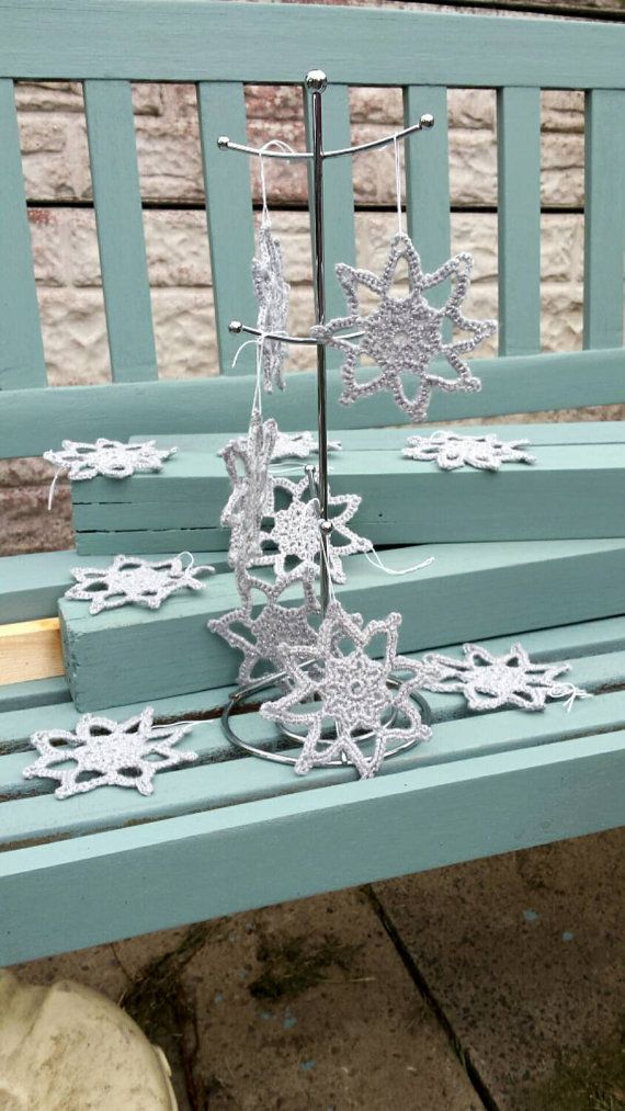 Christmas Tree Silver Snowflake decorations https://www.etsy.com/uk/listing/242836505/christmas-tree-decorations-12-hanging #christmasdecorations #silversnowflake #christmastreedecorations #hangingdecorations #crochetedchristmas