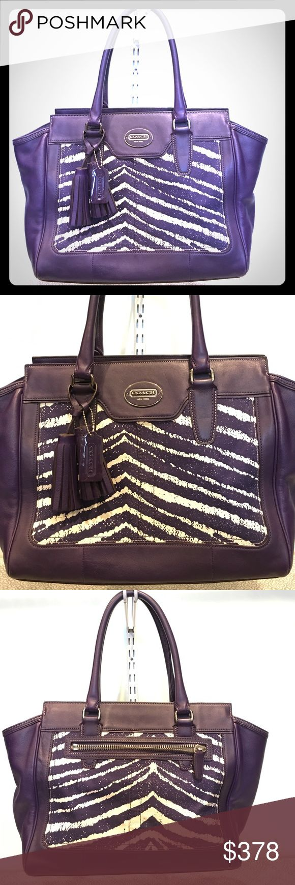 COACH LEGACY ZEBRA PRINT MED CARRYALL BAG #23409 COACH LEGACY ZEBRA PRINT MEDIUM CARRYALL/ SHOULDER BAG #23409 purple white approximate (L) 16 x (H) 11 x (W) 4 inches some marks on inside fabric Coach Bags Shoulder Bags