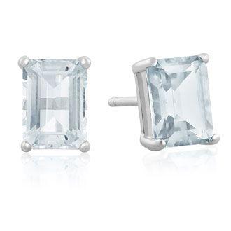 2 1/2ct Emerald Cut Aquamarine Earrings