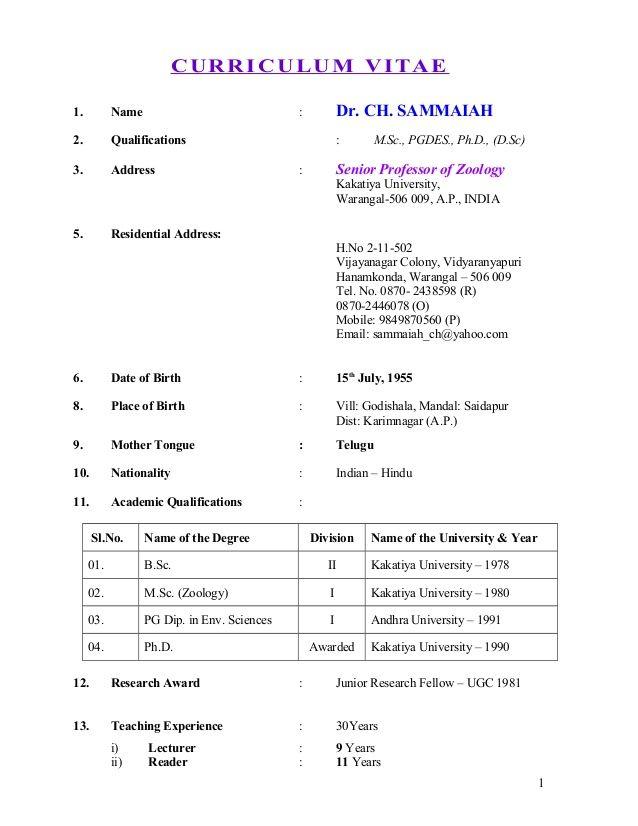 Resume Format For Msc Zoology Format Resume Resumeformat Zoology Resume Format Teacher Resume Template Free Education Resume