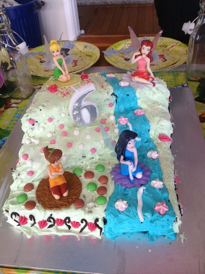 Disney Fairies party. Chocolate buttermilk cake and buttercream frosting. The Fairies were a present from a previous birthday.