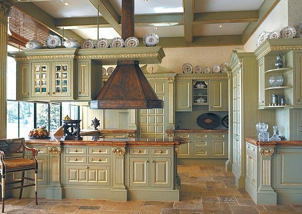 Englische Landhausküche Camebridge mit Insel in Grün (OSTER Küchen)