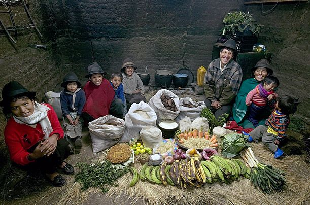 What the World Eats - A photo essay showing what different families around the world would eat in a typical week.  This is the Ayme family of Tingo, Ecuador.  Food expenses for one week:  $32.  Favorite food:  Potato soup with cabbage.