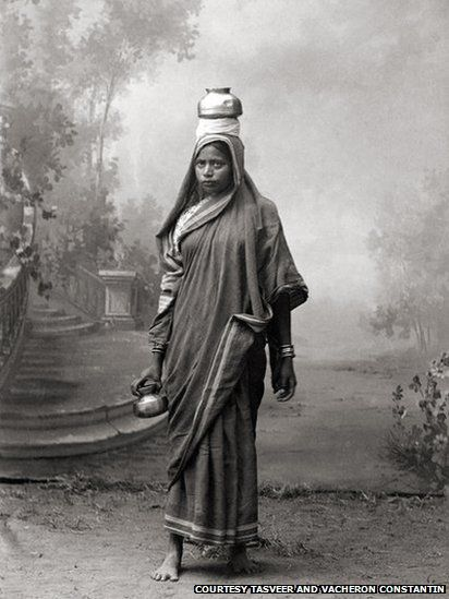 Images of an exhibition of photographs of Indian women, taken between the 1850s and 1950s.