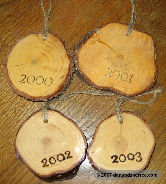 "So cool...ornaments made from the stump of the christmas tree...would be a cute idea for a ""our first christmas"" ornament or for the following years love it :)"