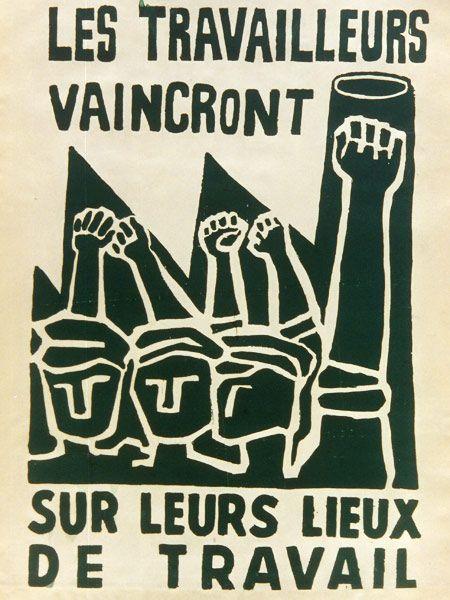 Ateliers populaire Paris: Les travailleurs vaincront zur leurs lieux de travail, 1968. Affiche - Sans tampon. BnF, Département des Estampes et de la photographie.