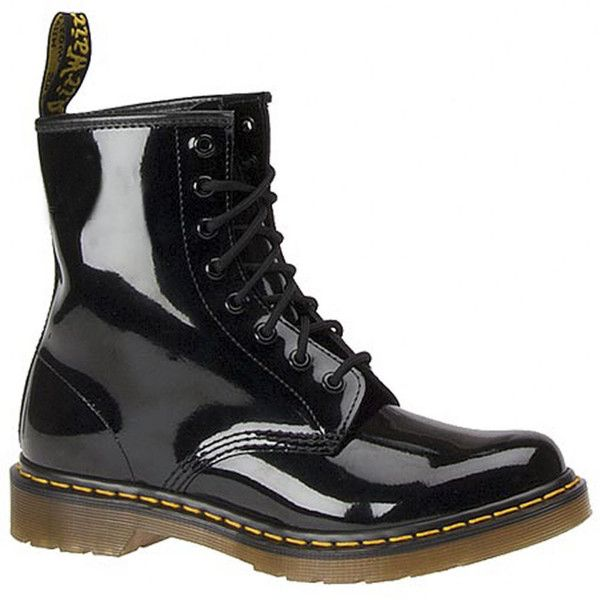 Dr Martens 1460 8 Eye Boot ($125) ❤ liked on Polyvore featuring shoes, boots, black, black boots, ski shoes, dr martens boots, stitch shoes and dr martens shoes