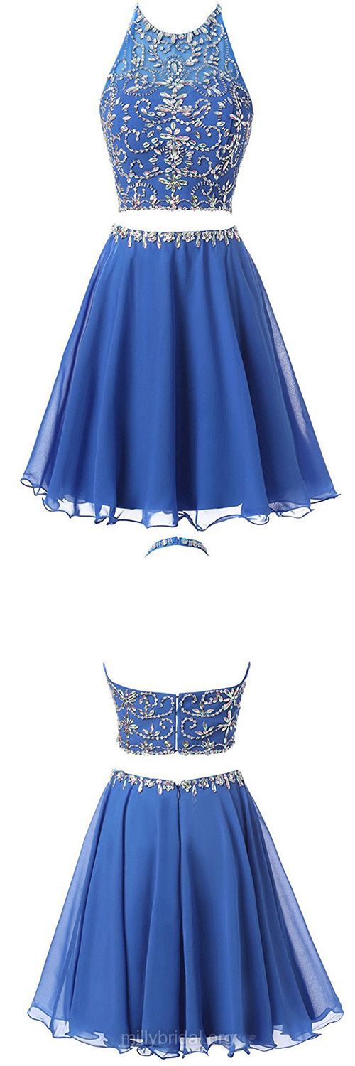 Junior Blue Homecoming Dresses,A-line Two Piece Backless Prom Dresses, Halter Tulle Formal Cocktail Dress,Chiffon Short/Mini Beading Evening Party Gowns