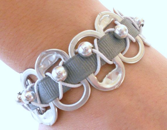 Pop Soda Can Tab Bracelet with Gray ribbon - Recycled - Upcycled - Like Kristen Stewart's - Twilight inspired - Washed tabs