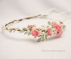 Pink and Green Flower Crown with Hand painted Leaves and Silk Flowers Boho Wedding Hair Accessory Woodland Bridal Headpiece Bohemian Bride