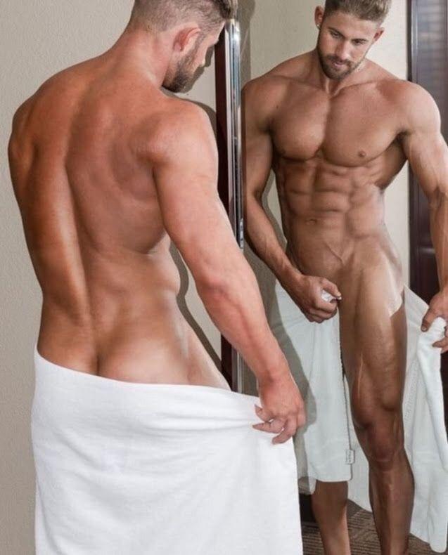 men naked in robes