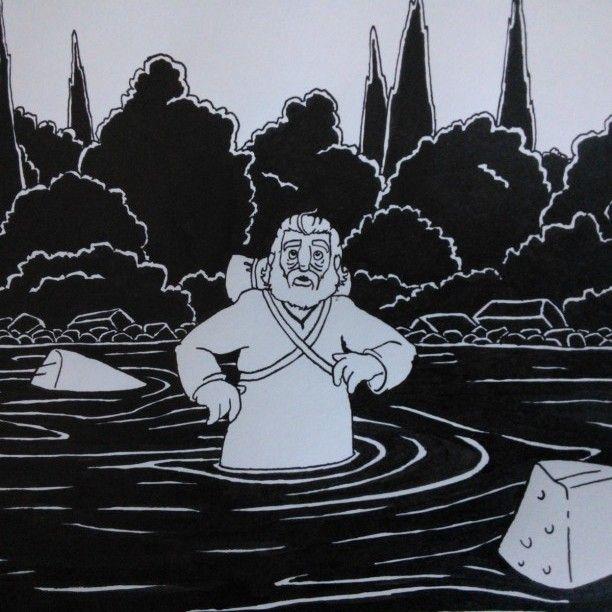 "Jacob crossing the river - original drawing, taken from ""Aan Tafel Bijbel"" by Willemijn de Weerd, illustrated by me, published by Ark Media, the Netherlands"