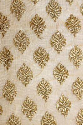 Zari Embroidered Net Fabric-K0108005