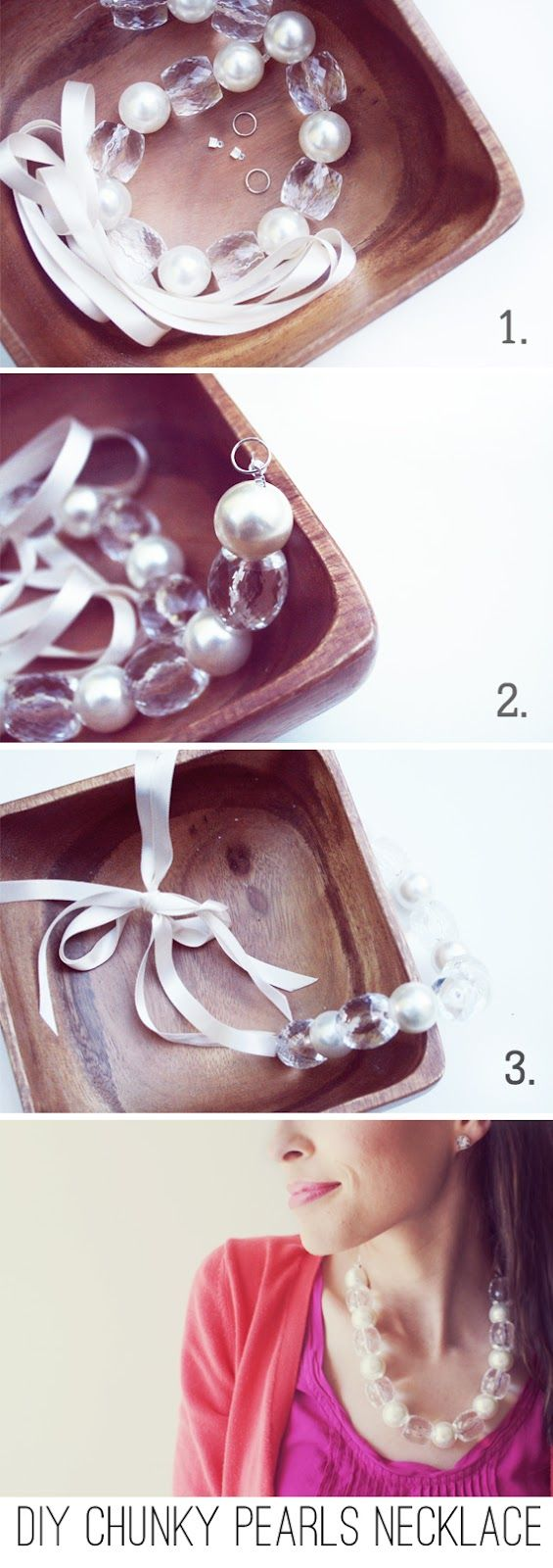 In Honor Of Design: DIY: Chunky Pearl and Crystal Statement Necklace Supplies: Bead Strand (I purchased mine in store at Hobby Lobby, but you can also buy a similar one here.) 1/4 in. wide Ribbon 2 Jumprings 2 Crimps (got mine here) Pliers
