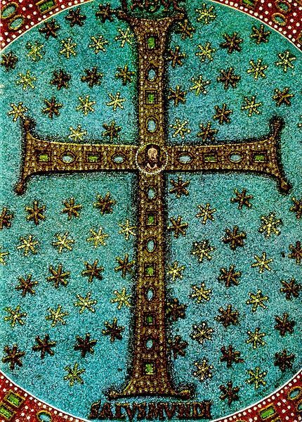 Cross - detail from the 6th century Byzantine mosaic in the apse of the basilica of Sant'Apollinare in Classe (Ravenna, Italy)