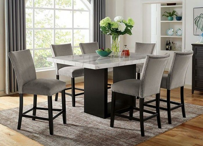 Cm3744pt 7pc 7 Pc Canora Grey Mel Kian Ii Black Finish Wood Marble Top Counter Height Dining Table Set Counter Height Dining Table Set Counter Height Dining Table Dining Room Bar