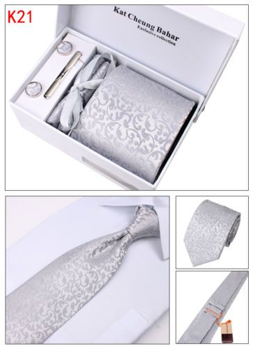 Mens TIE SET Dress TIE Cufflinks Hanky TIE Clip Gift BOX Silver Floral 4pcs | eBay