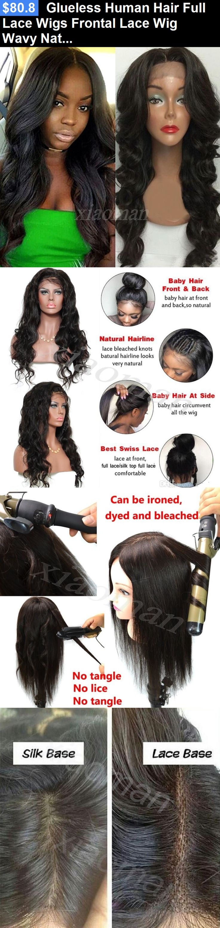 Wigs and Hairpieces: Glueless Human Hair Full Lace Wigs Frontal Lace Wig Wavy Natural Straight Wig #X BUY IT NOW ONLY: $80.8