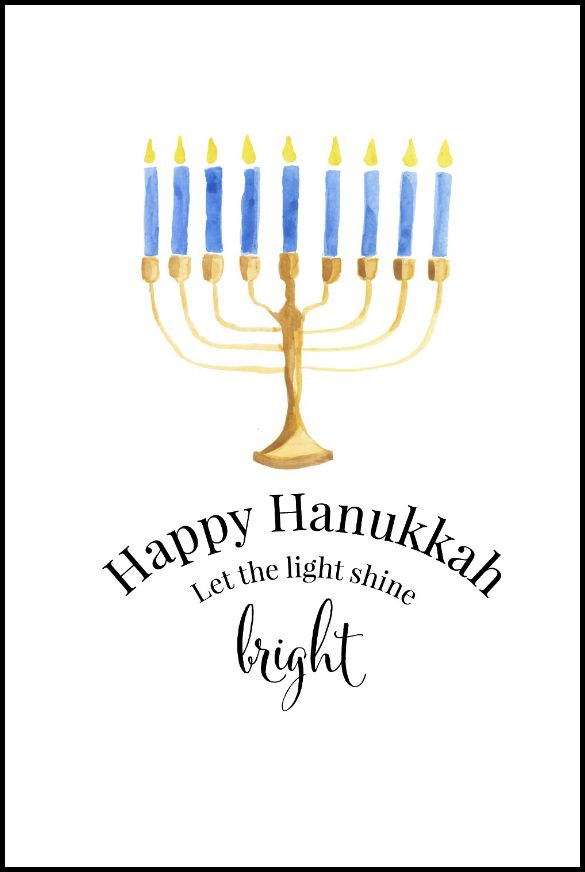 Happy Hanukkah Free Printables | Use for easy DIY wall art, cards, crafts, screensavers or as part of your Hanukkah decor.