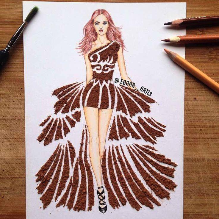 Stunning Il dessine des robes l uaide de nourriture Top model robe en poudre