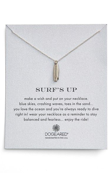 Dogeared 'Reminder - Surf's Up' Surfboard Pendant Necklace